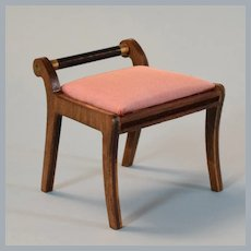 """Lynnfield Dollhouse Miniature Empire Dressing Table Bench  Early 1960s 1"""" Scale"""