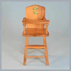 "Strombecker Blonde Wood Highchair for 8"" Dolls 1950s"