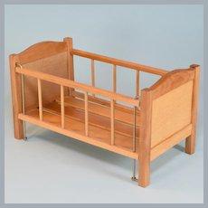 "Strombecker Blonde Wood Crib for 8"" Dolls 1950s"