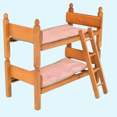 """Strombecker Blonde Wood Bunk Beds with Ladder and Original Mattresses for 8"""" Dolls 1950s"""