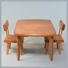 "Strombecker Blonde Wood Dinette Set for 8"" Dolls 1950s"