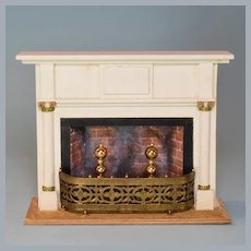 "Vintage Miniature Chestnut Hill Studios Neoclassical Fireplace and Mantle Large 1"" Scale"