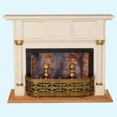 """Vintage Miniature Chestnut Hill Studios Neoclassical Fireplace and Mantle Large 1"""" Scale"""
