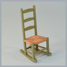 "Antique German Dollhouse Wooden Ladderback Rocking Chair 1920s 1"" Scale"