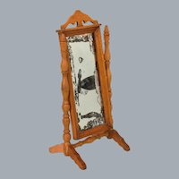 """Antique German Schneegas Dollhouse Cheval Mirror Late 1800s Large 1"""" Scale"""