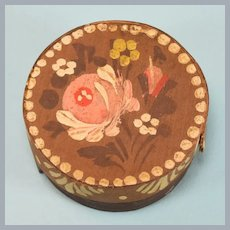 "Vintage Hand-painted Dollhouse Wood Hat Box 1"" Scale"