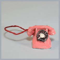 "Vintage Dollhouse Miniature Pink Metal Rotary Telephone 1930s – 1940s 1"" Scale"