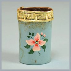"Blue Vintage Dollhouse Wastebasket with Hand-Painted Pink Flower 1"" Scale"