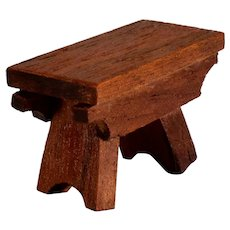 """Vintage Dollhouse Miniature Wooden Footstool Small 1"""" Scale"""