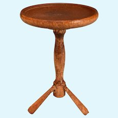 """Vintage Dollhouse Miniature Round Wood Side Table 1"""" Scale"""