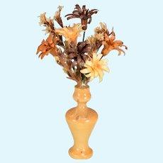 "Vintage Miniature Yellow Wooden Vase with Flower Arrangement 1"" Scale"