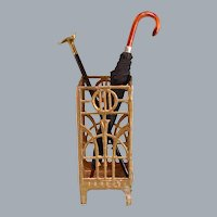 """Antique German Dollhouse Gilt Soft Metal Umbrella Stand by Christof Herbst 1920s 1"""" Scale"""