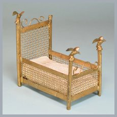 "Gilt Metal Dollhouse Youth Bed with Eagles by Bing or Marklin Late 1800s 1"" Scale"