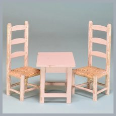 "Antique German Dollhouse Miniature Light Pink Painted Wood Nursery Table & Chair Set 1920s 1"" Scale"