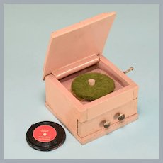 "Dollhouse Miniature Painted Wood Phonograph 1920s – 1930s 1"" Scale"