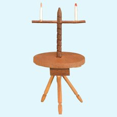 """Vintage Sonia Messer Miniature Colonial Wood Candlestand 1"""" Scale"""