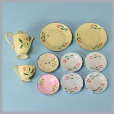 "Group Lot of Dolly Dear Painted Metal Dinnerware 1"" Scale"