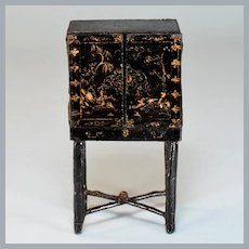 "British Miniature Black Japanned Cabinet by Westacre Village 1920s – 1930s 1"" Scale"