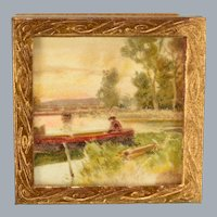 """Landscape Print in Gilt Metal Frame Made in Germany 1940s 1"""" Scale"""
