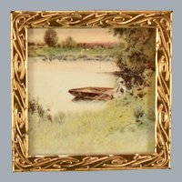"""Antique German Landscape Print in Gilt Metal Picture Frame Early 1900s 1"""" Scale"""