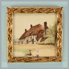 """Antique German Thatched Roof Cottage Print in Gilt Metal Frame Early 1900s 1"""" Scale"""