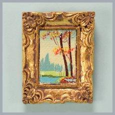 "Vintage Dollhouse Miniature Oil Landscape Painting in Gilt Plaster Frame 1"" Scale"
