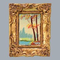 "Vintage Dollhouse Miniature Oil Landscape Painting in Gilt Plaster Frame 1"" Scale"