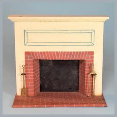 """Tynietoy Dollhouse Wooden Fireplace 1920s - 1930s Large 1"""" Scale"""