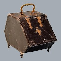 """Antique German Dollhouse Tin Coal Scuttle Late 1800s Large 1"""" Scale"""