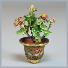 "Miniature Chinese Cloisonné Flower Pot with Enameled Flowers Large 1"" Scale"