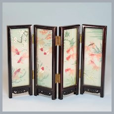 "Vintage Miniature Asian Hand-Painted Silk 4-Panel Folding Screen 1"" Scale"