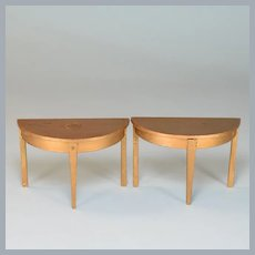 """Dollhouse Miniature Pair of Tynietoy Gilt Wood Demilune Tables 1920s – 1930s Large 1"""" Scale"""