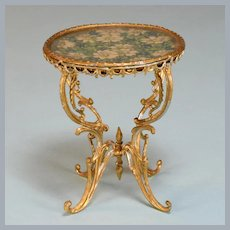 """Antique German Dollhouse Gilt Soft Metal Round Table Early 1900s 1"""" Scale"""