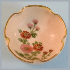 "Antique Miniature Japanese Porcelain Satsuma Round Footed Bowl 1"" Scale"