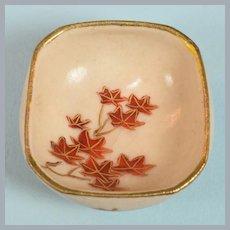 "Antique Miniature Japanese Porcelain Satsuma Square Footed Bowl 1"" Scale"