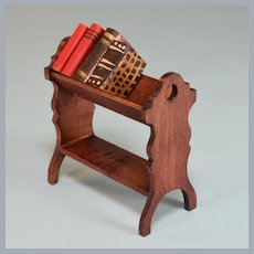 "Antique German Red Stained Dollhouse Bookshelf 1910 - 1920s 1"" Scale"