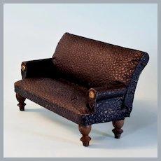 "Antique Dollhouse English Leatherette Sofa 1920s – 30s Large 1"" Scale"