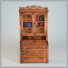 """Antique Hand-Crafted Dollhouse Miniature Wood Secretary Mid to Late 1800s Large 1"""" Scale"""