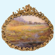 "Antique Dollhouse Landscape Painting in Gilt Metal Frame Late 1800s Large 1"" Scale"