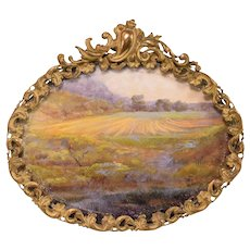 Antique Glazed Ornate Oval Brass Frame with Modern Print and 1897 Photograph