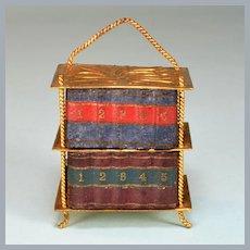 "Antique German Dollhouse Ormolu Bookshelf by Erhard & Son Early 1900s 1"" scale"