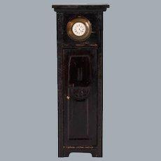 "German Dollhouse Ebony Wood Grandfather Clock Early 1900s 1"" Scale"