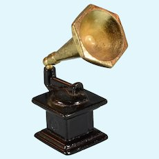 "Vintage Dollhouse Miniature Cast Metal Gramophone 3/4"" Scale"