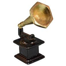 "Vintage Dollhouse Miniature Cast Metal Gramophone 3/4"" Scale"