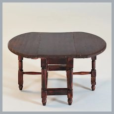 """Schneegas Red Stained Dollhouse Gateleg Table 1910 - 1920s 1"""" Scale"""