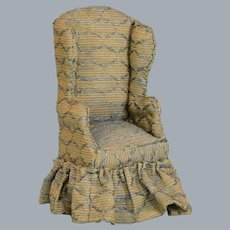 """Vintage Dollhouse Hand-Crafted Miniature Upholstered Wing Chair 1"""" Scale"""