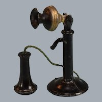 "Dollhouse Cast Metal Candlestick Phone 1920s - 1930s Large 1"" Scale"