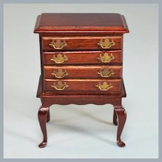 """Vintage Dollhouse Miniature 4 Drawer Chest on Footed Base 1"""" Scale"""