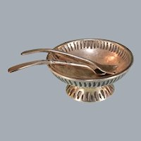 "Dollhouse Miniature Silver Plated Footed Salad Bowl with Salad Servers 1"" Scale"