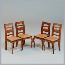 """Dollhouse Miniature Set of 4 Dining Chairs 1920s – 1930s 1"""" Scale"""